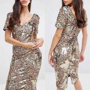 ASOS Club L Gold Sequin Midi Dress